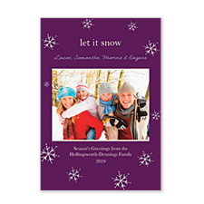 Snow Crystal Purple Christmas Photo Cards