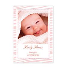 Tiger Stripe Pink Photo Birth Announcement Cards