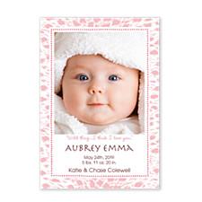 Jaguar Pink Photo Birth Announcement Cards