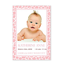 Leopard Pink Photo Birth Announcement Cards