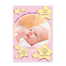 Twinkle Twinkle Pink Birth Announcement Photo Cards