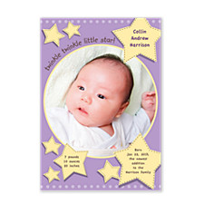 Twinkle Twinkle Plum Birth Announcement Photo Cards