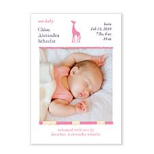 Savannah Pink Photo Birth Announcement Cards