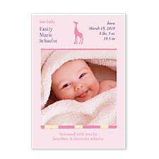 Peek a Boo Pink Photo Birth Announcement Cards