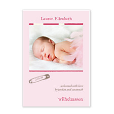 Dreamy Pink Photo Birth Announcement Cards