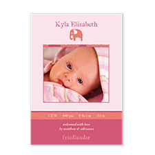 Pitter Patter Pink Photo Birth Announcement Cards