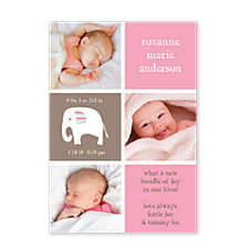 Sweet Pea Pink Photo Birth Announcement Cards
