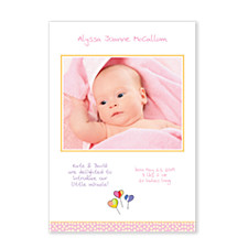 Hearts Photo Birth Announcement Cards