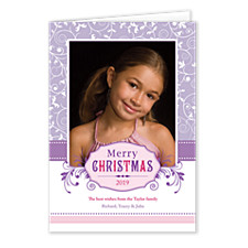 Purple Snow Photo Christmas Cards