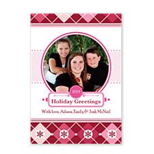 Pink Greetings Christmas Photo Cards