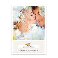 Floral Banner Vertical Photo Wedding Thank You Cards