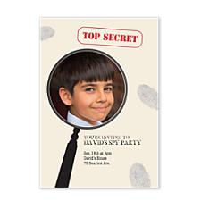 Spy Glass Kids Photo Party Invitations