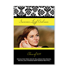 Damask Yellow Graduation Announcement Cards