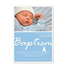 Chapel Baptism Blue Invitations
