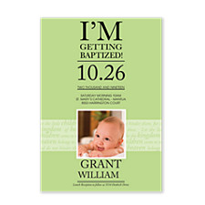 Baptism Green Kids Photo Party Invitations