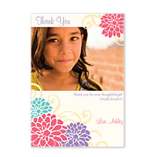Four Flower Photo Thank You Cards
