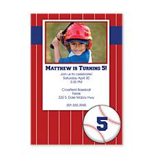 Swing Batter Kid Birthday Party Invitations