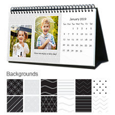 Black & White 12 Month Photo Hardcover Desk Calendar 10 x 5