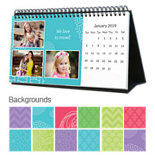 Bright & Colorful 12 Month Photo Softcover Desk Calendar 10 x 5