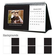 Classic Black & White 12 Month Photo Hardcover Desk Calendar 10 x 5