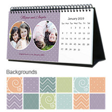 Dots, Stripes, & Patterns 12 Month Photo Hardcover Desk Calendar 10 x 5