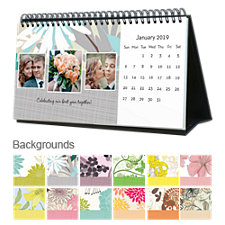 Floral 12 Month Photo Softcover Desk Calendar 10 x 5