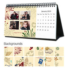 Holiday 12 Month Photo Hardcover Desk Calendar 10 x 5