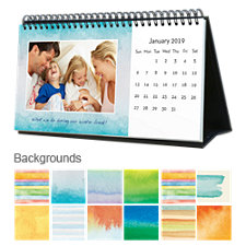 Watercolor 12 Month Photo Softcover Desk Calendar 10 x 5